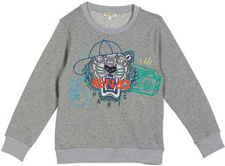Kenzo Tiger in Ball Cap Embroidered Sweatshirt, Size 8-12
