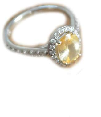 Brilliant Earth 18K White Gold Fancy Halo Yellow Sapphire Diamond Ring