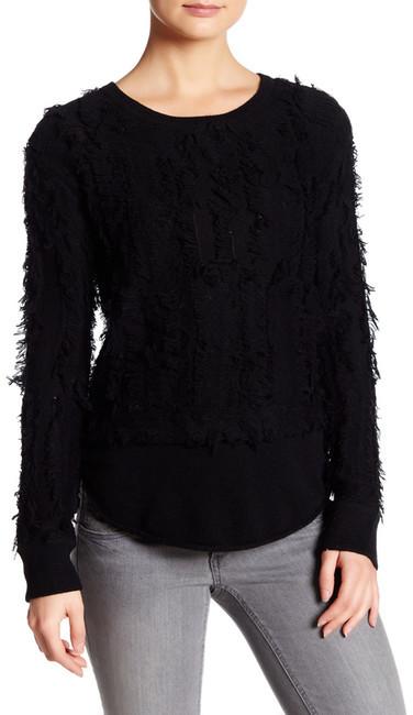 Inhabit Crew Neck Long Sleeve Wool Blend Frayed Sweater