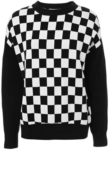 Derek Lam 10 Crosby Checkerboard Knit Sweater Black