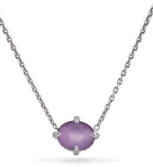 David Yurman Chatelaineé Diamond, Blue Topaz & Sterling Silver Single Stone Necklace