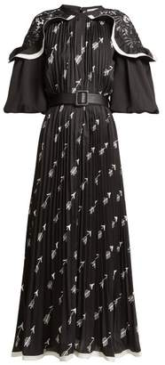 Self-Portrait Self Portrait Arrow Print Pleated Crepe Midi Dress - Womens - Black Print