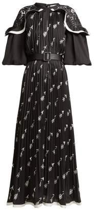 Self-portrait - Arrow Print Pleated Crepe Midi Dress - Womens - Black Print