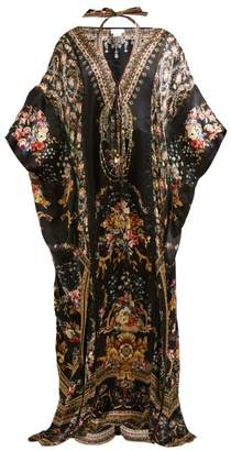 Camilla Friend In Flora Print Silk Kaftan - Womens - Brown Print
