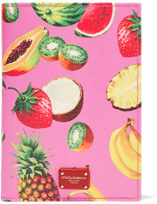 Dolce & Gabbana - Printed Textured-leather Passport Cover - Pink $295 thestylecure.com