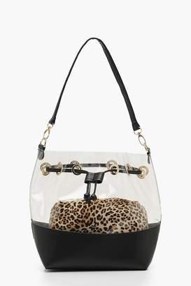 boohoo Leopard Pouch Clear Duffle Bag