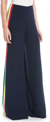 Ralph Lauren Daria Wide-Leg Crepe Cady Pants w/ Side Stripes