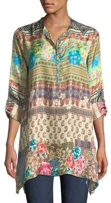Johnny Was Biza Printed Silk Half-Button Blouse, Plus Size