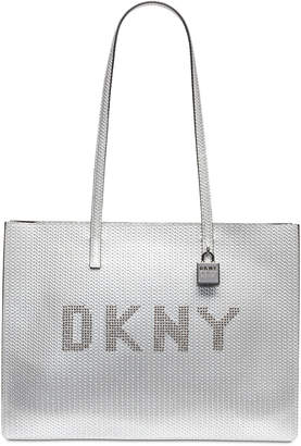 DKNY Metallic Leather Commuter Logo Tote