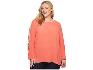 Vince Camuto Specialty Size Plus Size Long Sleeve Flutter Cuff Split Sleeve Blouse Women's Blouse
