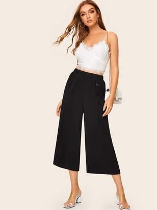 Shein Button Front Wide Leg Crop Pants