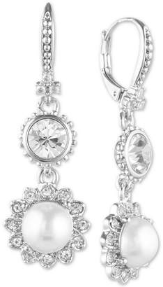 Marchesa Silver-Tone Crystal & Imitation Pearl Double Drop Large Earrings