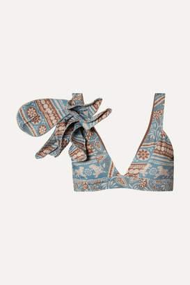 Johanna Ortiz African Dialects Printed Bikini Top - Blue