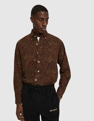 Leon Aimé Dore Paisley Button Down Sport Shirt in Burgundy