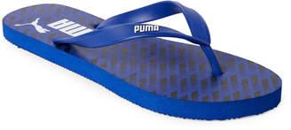 Puma Blue & Black Printed Logo Flip Flops