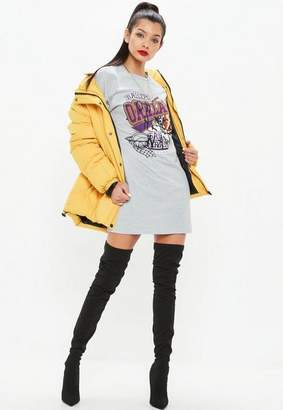 Missguided Gray Long Sleeve Ballers Basketball T Shirt Dress