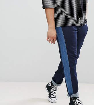Asos Design Plus Slim Jeans In Indigo With Side Stripe Insert