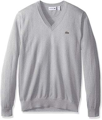 Lacoste Men's Cotton Jersey V Neck Sweater with Pique Stitch Details