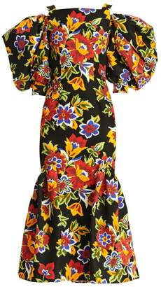 Carolina Herrera Dramatic Puff-Sleeve Floral Mermaid Midi Dress