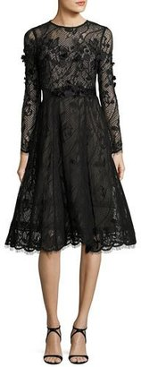 Rickie Freeman for Teri Jon Long-Sleeve Lace Dance Dress w/ 3D Floral Appliqué $680 thestylecure.com
