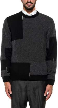 Mauro Grifoni Gray/black Patch Wool Pullover