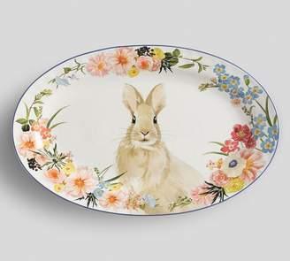 Pottery Barn Floral Bunny Serving Platter