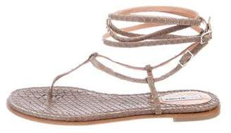Alexa Wagner Snakeskin Wrap-Around Sandals