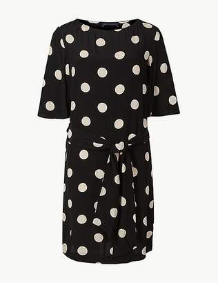 Marks and Spencer Spotted Half Sleeve Shift Dress