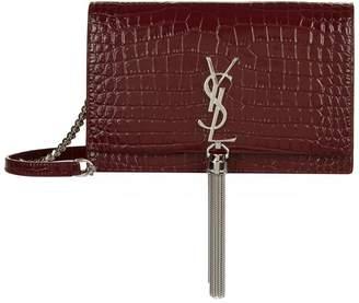 Saint Laurent Mini Croc-Embossed Kate Tassel Shoulder Bag