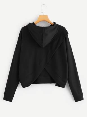 Shein Drop Shoulder Tulip Back Slub Hoodie