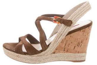 5764c603c639 Prada Brown Suede Women s Sandals - ShopStyle