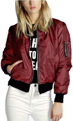 MFrannie Womens Thin Lightweight Zip-Up Short Flight Jacket 4