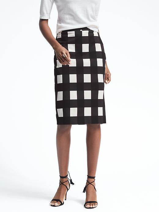 Gingham Midi Pencil Skirt