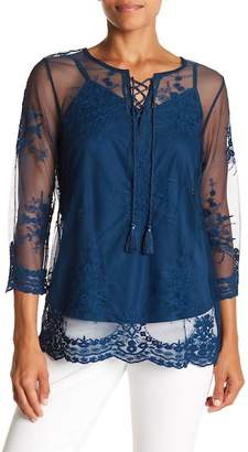 Vintage America Blues Mona Embroidered Sheer Blouse