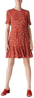 Whistles Peony-Print Pleated Dress