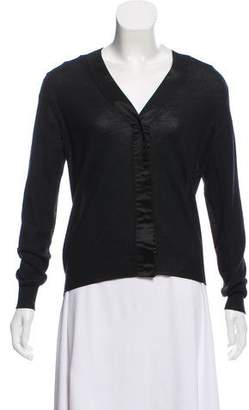 Prada V-Neck Silk-Wool Cardigan
