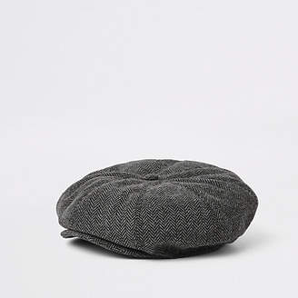 River Island Mini boys grey herringbone baker boy hat