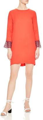 Sandro Jelal Eyelet-Lace Cuff Shift Dress