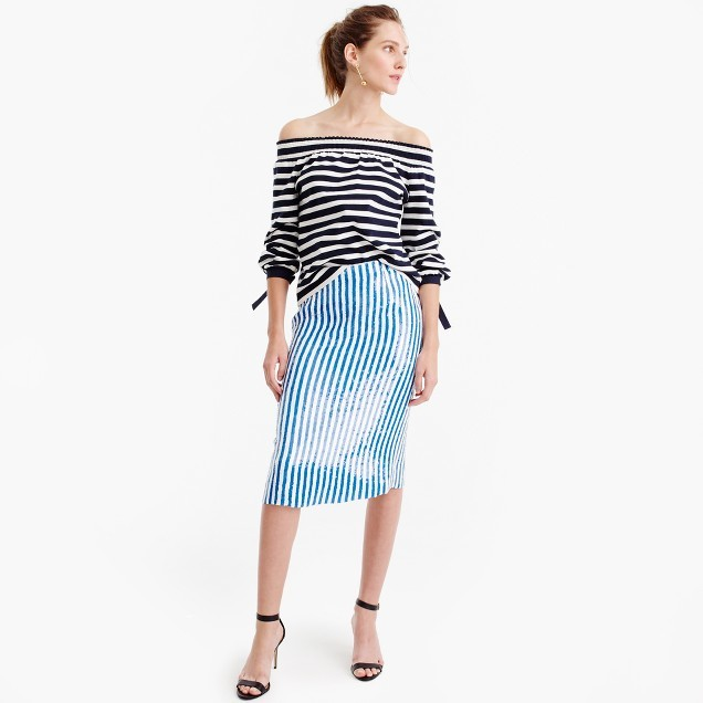 J.Crew Collection striped sequin skirt