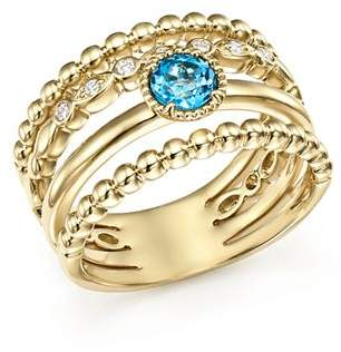 Bloomingdale's Diamond & Blue Topaz Wide Beaded Band in 14K Yellow Gold - 100% Exclusive