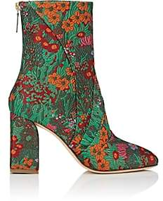 Zac Posen Women's Ines Floral Brocade Ankle Boots - Green