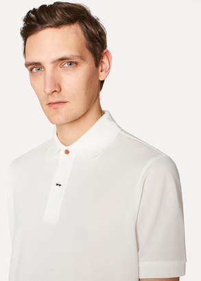 Paul Smith Men's Slim-Fit White Cotton-Pique Polo Shirt With Charm Buttons