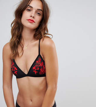 Wolfwhistle Wolf & Whistle Floral Embroidery Triangle Bra