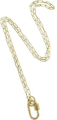 Marla Aaron Yellow Gold Baby Lock with 16 Inch Yellow Gold Square Link Chain Necklace