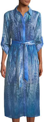 T Tahari Collared Ombre Feather-Print Dress