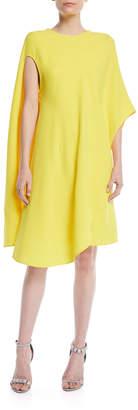 Calvin Klein Silk-Wool Asymmetric Flowy Dress