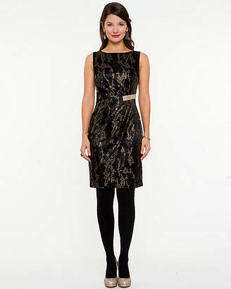 Le Château Metallic Boat Neck Dress
