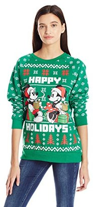 Disney Juniors Licensed Mickey and Minnie Cotton Polyester All Over Printed Ugly Christmas Sweater $14.99 thestylecure.com