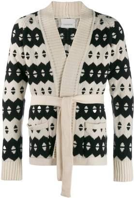 Laneus striped belted cardigan