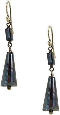 Chan Luu Dangle Pyramid Earrings in Midnight Blue Crystal
